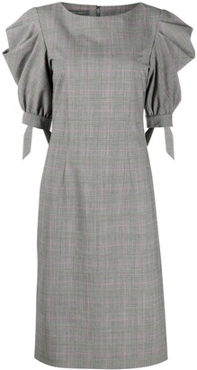 Alberta Ferretti Check-Print Puff-Sleeved Midi Dress