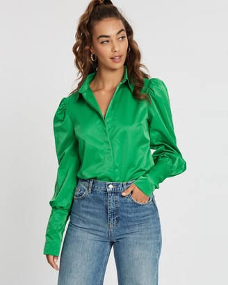 Missguided Puff Sleeve Embellished Cuff Shirt
