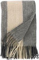 DwellStudio Mohair Striped Ivory/Gray Throw