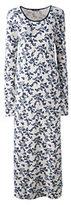 Classic Women's Petite Long Sleeve Midcalf Nightgown-Caspian Blue Vines