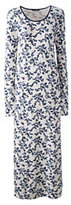 Lands' End Women's Petite Long Sleeve Midcalf Nightgown-Wharf Blue Ditsy