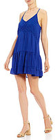 Jodi Kristopher Lace-Inset Flounce Hem Shift Dress