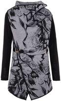 Quiz Grey And Black Felt Floral Wrap Buckle Jacket