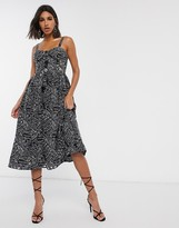 Asos Design DESIGN cami midi prom dress in palm broderie with contrast stitching in black