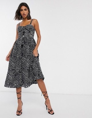 Asos DESIGN cami midi prom dress in palm broderie with contrast stitching in black