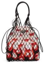 Prada Netted Faux Leather Lipstick-print Bag - Womens - White Multi