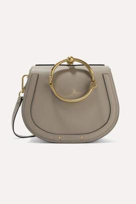 Chloé Nile Bracelet Medium Textured-leather And Suede Shoulder Bag - Gray