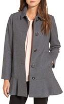 Kate Spade Petite Women's Drop Waist Wool Blend Flounce Coat