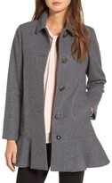 Kate Spade Women's Drop Waist Wool Blend Flounce Coat