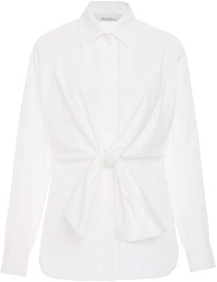 Max Mara Dinda Tie-Detailed Cotton-Poplin Shirt