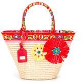 Dolce & Gabbana Carretto Con Rose beach bag - kids - Cotton/Straw - One Size