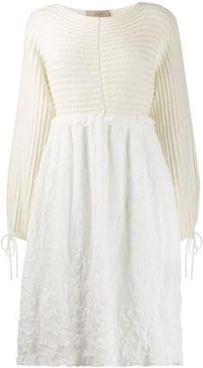 Maison Flaneur contrast long-sleeve dress