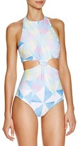 Mara Hoffman Fractals Printed Cutout One Piece Swimsuit