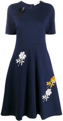 Tory Burch Floral Print Flare Dress