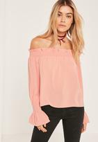 Missguided Pink Shirred Cuff Bardot Blouse