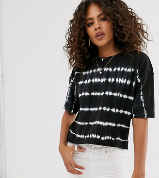 Asos Tall DESIGN Tall cropped boxy t-shirt in tie dye stripe with exposed seams