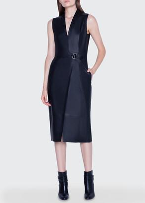 Akris Leather Wrap Dress