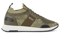 HUGO BOSS Running Style Sneakers In Mixed Materials With Knitted Sock - Light Green