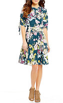 GUESS Alyah Floral Printed Lace-Up Back A-line Dress