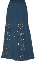 By Malene Birger Aria Embellished Georgette Maxi Skirt - Storm blue