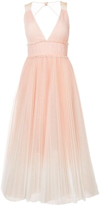 Marchesa Pleated Flared Dress