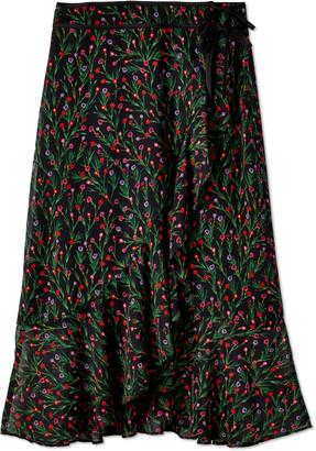 J.o.a. Woven Wrap Midi Skirt