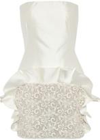 Giambattista Valli Shantung silk and lace strapless dress
