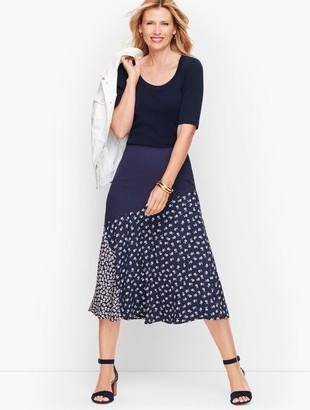 Talbots Pieced Floral Midi Skirt