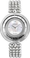 Versace Eon Reversible-Bezel Watch w/ Beaded Bracelet, White/Silvertone