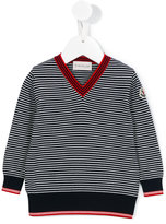 Moncler striped V-neck sweater - kids - Cotton - 6-9 mth