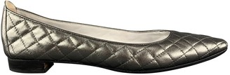 Manolo Blahnik Silver Leather Ballet flats
