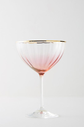 Anthropologie Waterfall Coupe Glass By in Pink Size COUPE STEM