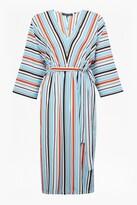 French Connection Multi Stripe V Neck 3/4 Sleeve Dress