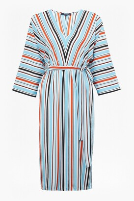 French Connection Multi Stripe V Neck 3/4 Sleeve Dress