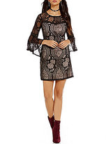I.N. San Francisco 3/4 Bell-Sleeve Two-Tone Lace Shift Dress