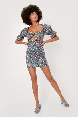 Nasty Gal Womens Cut Out Detail Floral Mini Tea Dress