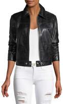 Frame Zip-Front Lamb Leather Jacket