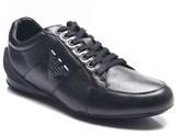 Emporio Armani Men's Leather Ga Logo Sneakers Shoes Black.