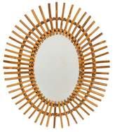 Mid-Century French Bamboo Sunburst Wall Mirror