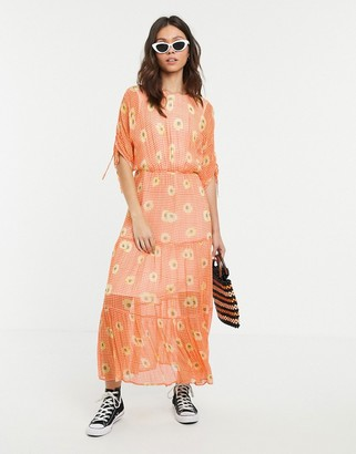 Ghost check and daisy print high neck midi dress-Orange