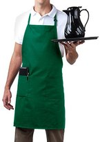 Bib Aprons-MHF Brand-1 Piece-new Spun Poly-Commercial Restaurant Kitchen- Adjustable-Full length-3 Pockets (Green)
