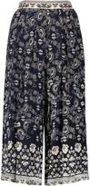 Sea Bandana printed crepe wide-leg pants