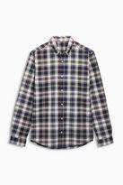Navy/brown Long Sleeve Check Shirt