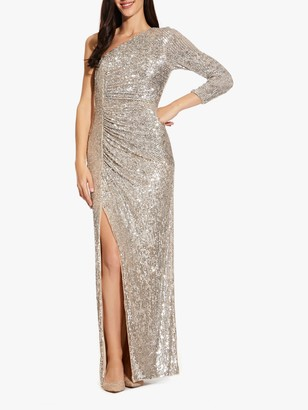 Adrianna Papell Draped Sequin Asymmetric Gown, Silver
