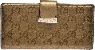 Gucci Metallic Gold Guccissima Leather Continental Wallet
