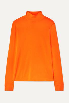 Les Rêveries Neon Stretch-knit Turtleneck Top - Orange
