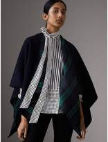 Burberry Reversible Cropped Tartan Wool Poncho