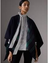 Burberry Reversible Cropped Tartan Wool Poncho