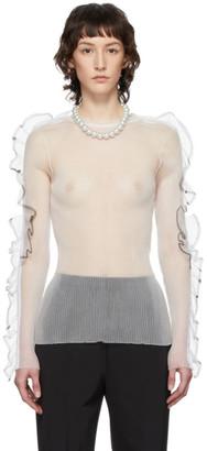 Noir Kei Ninomiya White Monofilament Long Sleeve T-Shirt