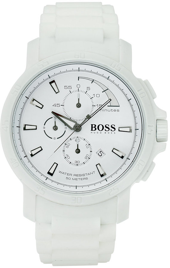 HUGO BOSS Watch, Men's Chronograph White Silicone Strap 47mm 1512848